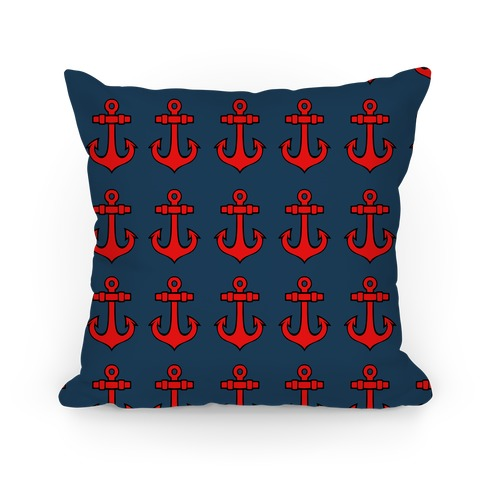 Blue Anchor Pattern Pillow