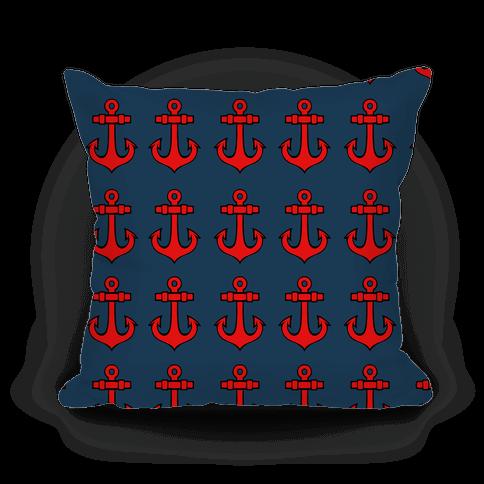 Blue Anchor Pattern Pillow