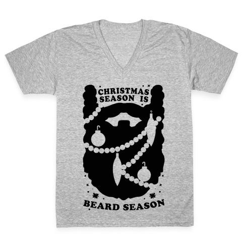 Christmas Season is Beard Season V-Neck Tee Shirt