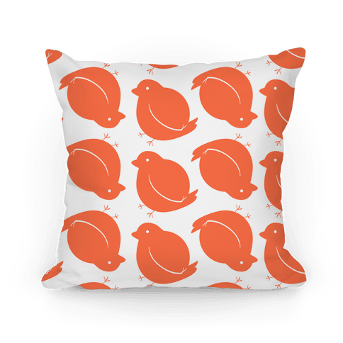 Chubby Bird Pattern Pillow (Orange) Pillow