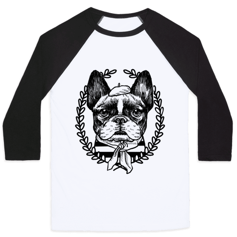 French Bulldog Illustration Baseball Tee