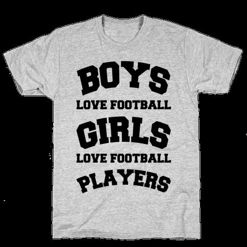 Boys and Girls Love Football Mens T-Shirt
