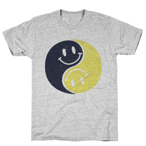 Smiley Yin Yang Mens T-Shirt
