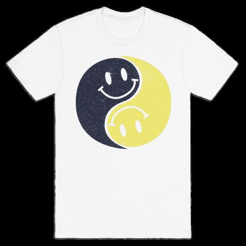 Smiley Yin Yang Mens T-Shirt