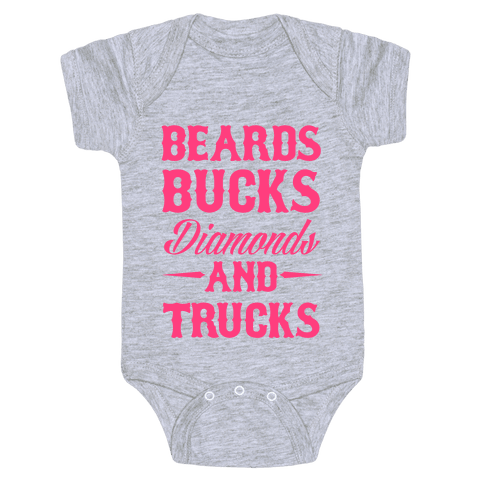 Beards, Bucks, Diamonds and Trucks Baby Onesy