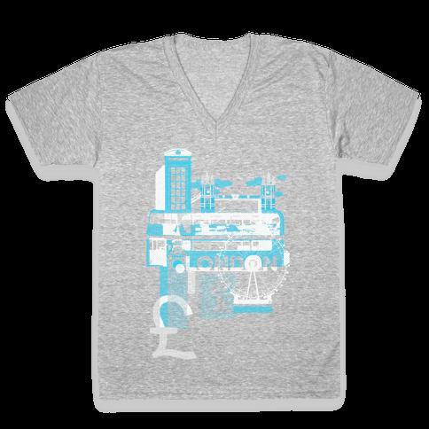 London Travel Visit V-Neck Tee Shirt