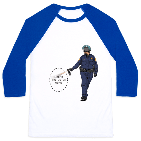 Insert Protester Pepper Spray Baseball Tee