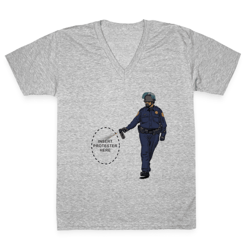 Insert Protester Pepper Spray V-Neck Tee Shirt