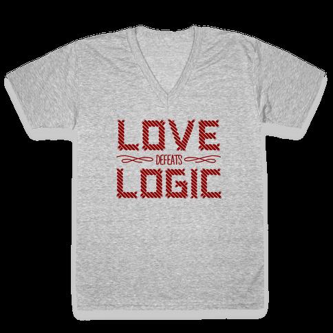 Love Defeats Logic V-Neck Tee Shirt