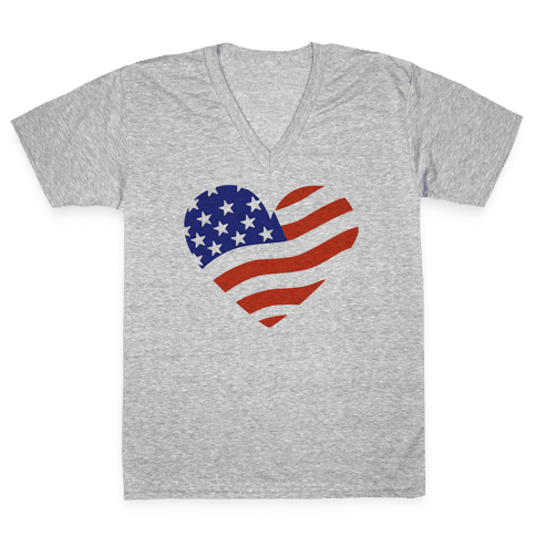 American Flag V-Neck Tee Shirt