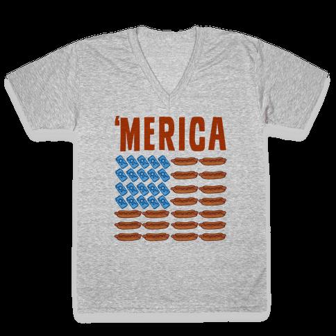 Beer, Hotdogs & 'Merica V-Neck Tee Shirt