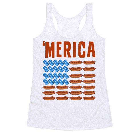Beer, Hotdogs & 'Merica Racerback Tank Top