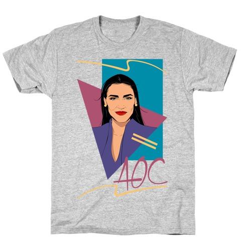 80s Style AOC Alexandria Ocasi-Cortez Parody CMYK Print T-Shirt