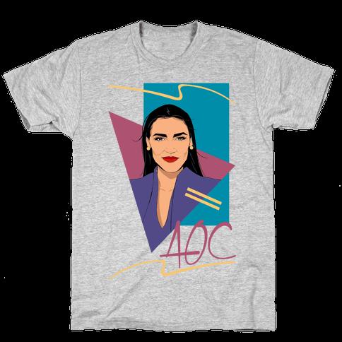 80s Style AOC Alexandria Ocasi-Cortez Parody CMYK Print Mens/Unisex T-Shirt