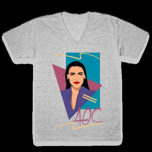80s Style AOC Alexandria Ocasi-Cortez Parody CMYK Print V-Neck Tee Shirt