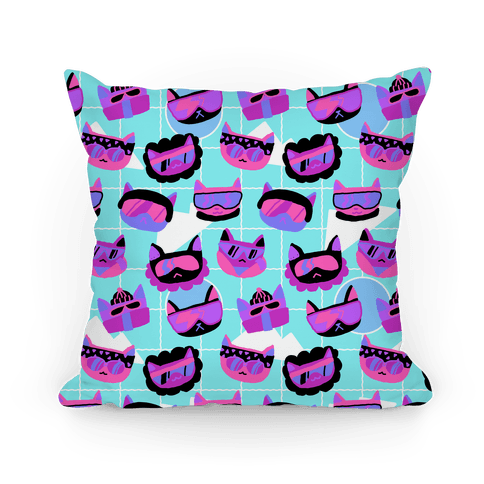 Gnarly Snowboard Cats Pillow