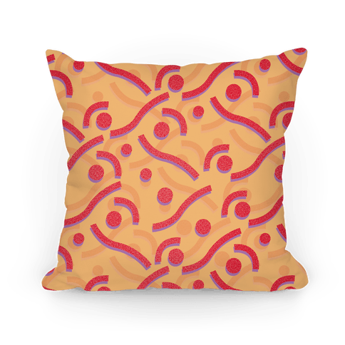 Red And Orange 90's Pattern Pillow