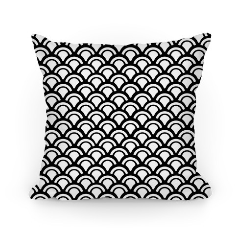 Black and White Mermaid Scales Pattern Pillow