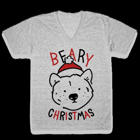 Beary Christmas V-Neck Tee Shirt