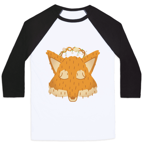 Flower Crown Fox Face Baseball Tee