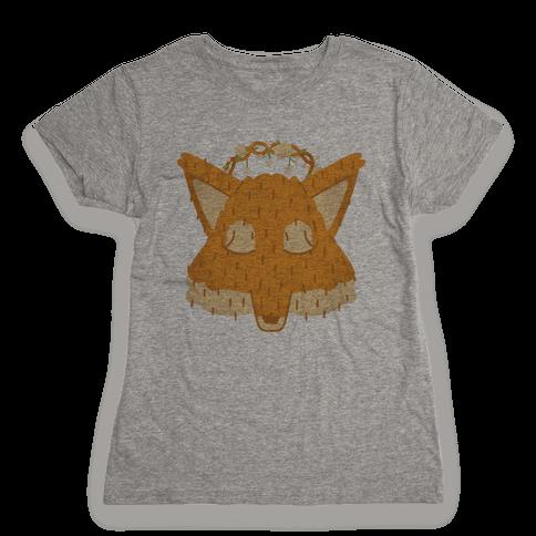 Flower Crown Fox Face Womens T-Shirt