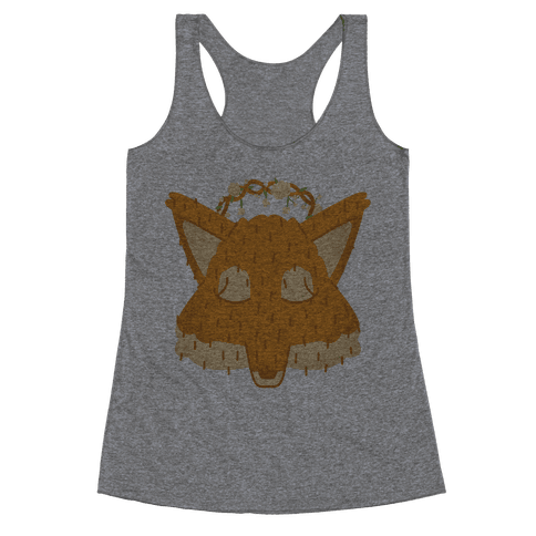 Flower Crown Fox Face Racerback Tank Top