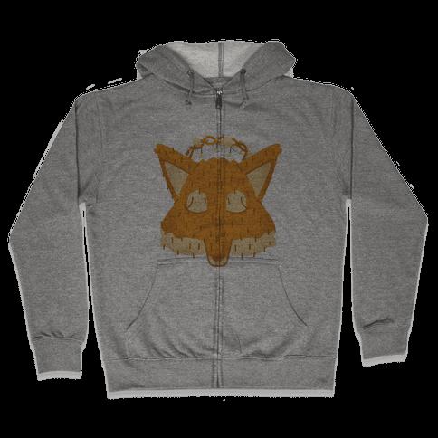 Flower Crown Fox Face Zip Hoodie