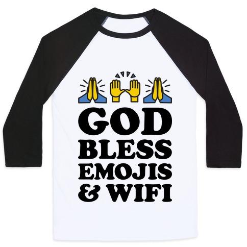 God Bless Emojis & Wifi Baseball Tee