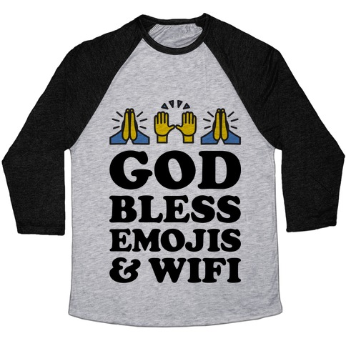 God Bless Emojis & Wifi Baseball Tee