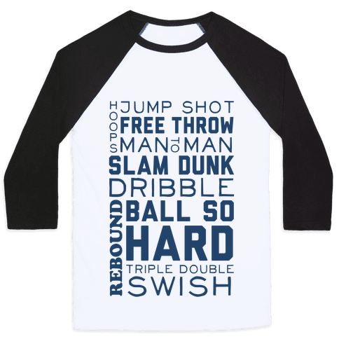 Basketball Typographic (Blue) Baseball Tee