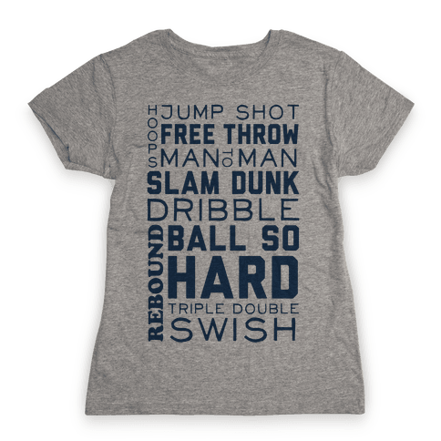 Basketball Typographic (Blue) Womens T-Shirt