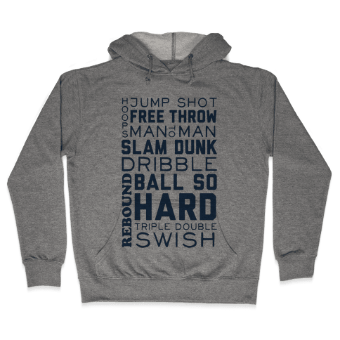 Basketball Typographic (Blue) Hooded Sweatshirt