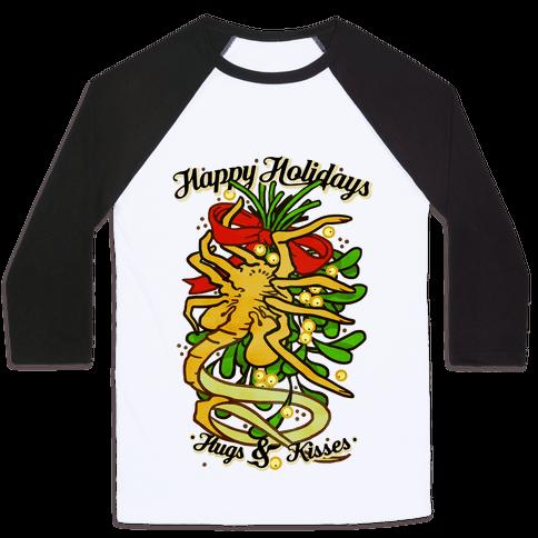 Happy Holidays Hugs and Kisses Baseball Tee