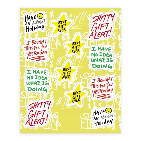 Lazy Gift Giving  Sticker/Decal Sheet