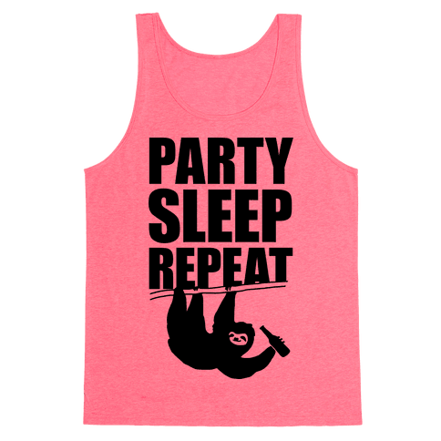 Party Sleep Repeat Sloth Tank Top