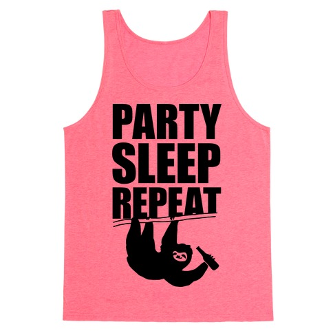 Party Sleep Repeat Sloth Tank Top