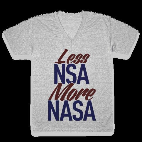 Less NSA More NASA V-Neck Tee Shirt