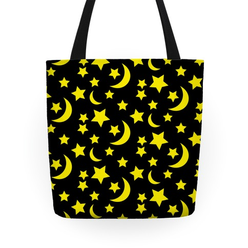 Moon And Stars Pattern Tote