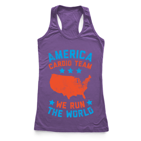 America Cardio Team (We Run The World) Racerback Tank Top