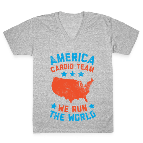 America Cardio Team (We Run The World) V-Neck Tee Shirt