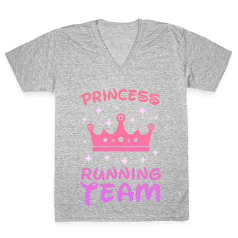 Princess Running Team (sunset) V-Neck Tee Shirt