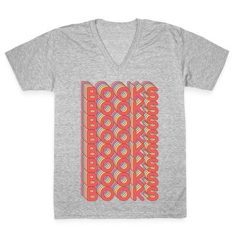 Books Retro Rainbow V-Neck Tee Shirt