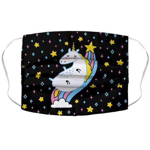 Unicorn On Rainbow Accordion Face Mask