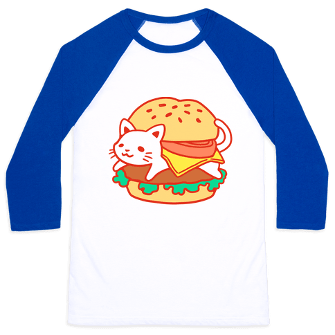 Burger Cat (No Text) Baseball Tee