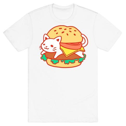 Burger Cat (No Text) Mens T-Shirt