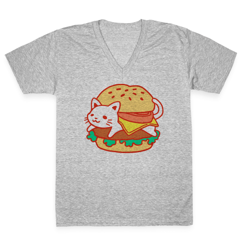 Burger Cat (No Text) V-Neck Tee Shirt