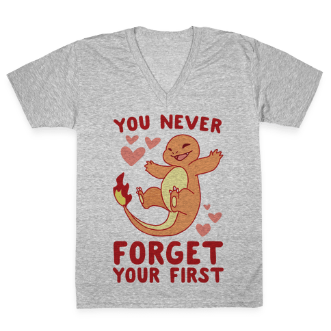 You Never Forget Your First - Charmander V-Neck Tee Shirt