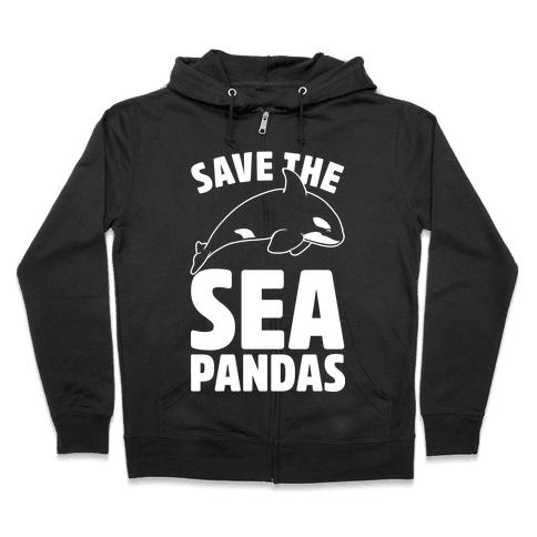 Save The Sea Pandas Zip Hoodie