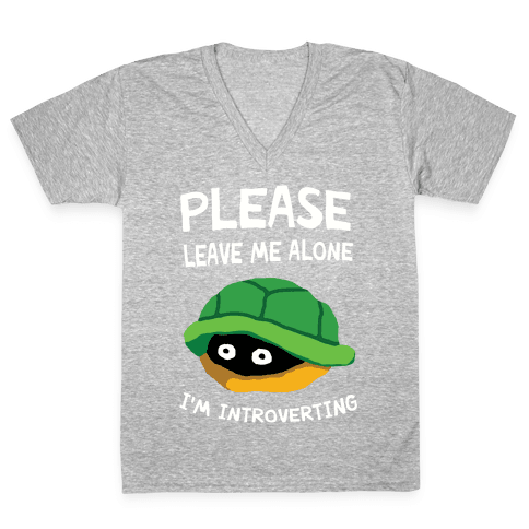 Please Leave Me Alone I'm Introverting Turtle V-Neck Tee Shirt