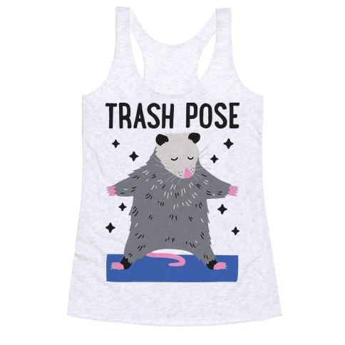 Trash Pose Opossum Racerback Tank Top